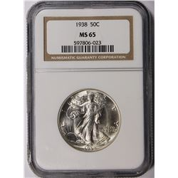 1938 WALKING LIBERTY HALF DOLLAR NGC MS65 SNOW WHITE GEM