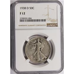 1938-D WALKING LIBERTY HALF DOLLAR NGC FINE 12 KEY COIN!