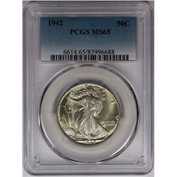 1942 WALKING LIBERTY HALF DOLLAR PCGS MS65 GEM WHITE!