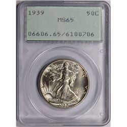 1939 WALKING LIBERTY HALF DOLLAR PCGS MS 65 GEM SNOW WHITE