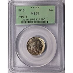 1913 TYPE 1 BUFFALO NICKEL PCGS MS 65 GREEN LABEL