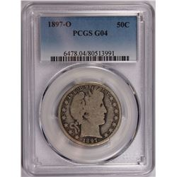 1897-O BARBER HALF DOLLAR PCGS GOOD 4 KEY COIN