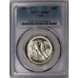 1936-D TEXAS HALF DOLLAR PCGS MS 66 SNOW WHITE!