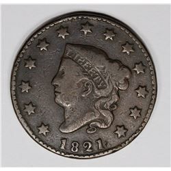 1821 LARGE CENT, F-VF KEY COIN