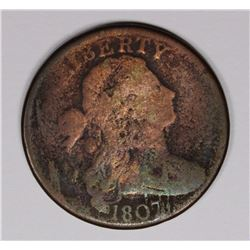 1807 LARGE CENT, VG, TOTALLY ROTATED REVERSE ERROR
