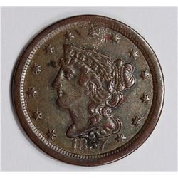 1857 HALF CENT, GLOSSY BROWN, AU, RARE DATE!