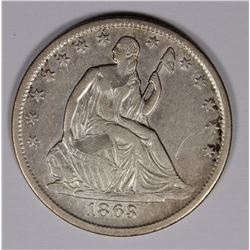 1863-S LIBERTY SEATED HALF DOLLAR, NEAR AU CIVIL WAR COIN, RARE!