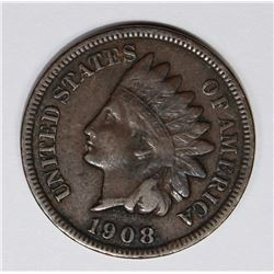 1908-S INDIAN CENT, VF-XF, NICE CHOCOLATE BROWN COLOR