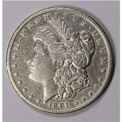 1891-CC MORGAN DOLLAR, ABOUT XF