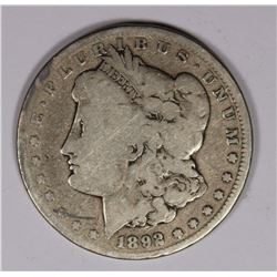 1892-CC MORGAN DOLLAR, VG, KEY COIN