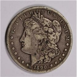 1890-CC MORGAN DOLLAR, VF, SCARCE!