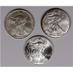 3-GEM BU AMERICAN SILVER EAGLES
