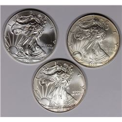 3-GEM BU AMERCIAN SILVER EAGLES