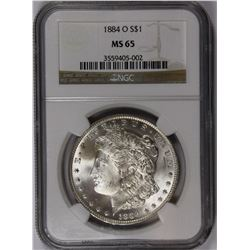 1884-O MORGAN SILVER DOLLAR NGC MS 65 GEM SNOW WHITE!