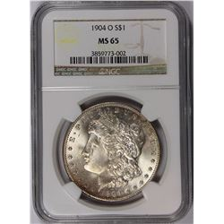 1904-O MORGAN SILVER DOLLAR NGC MS-65 SNOW WHITE