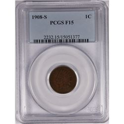1908-S INDIAN CENT PCGS F-15 KEY DATE!