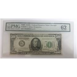 BEAUTIFUL 1934-A $500 BILL PMG 62 RARE!