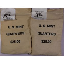 MINT SEWN BAGS $25 FACE EACH - STATE QUARTERS: FLORIDA (P) AND WISCONSIN (D)