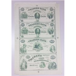 UNCUT SHEET OF 4 CIVIL WAR VIRGINIA NOTES