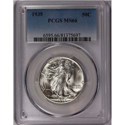 1935 WALKING LIBERTY HALF DOLLAR PCGS MS 66 SNOW WHITE! SUPER GEM! WOW!!!