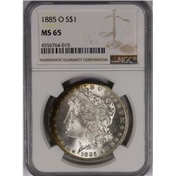 1885-O MORGAN SILVER DOLLAR NGC MS65 WHITE WITH A LITTLE RIM RAINBOW!
