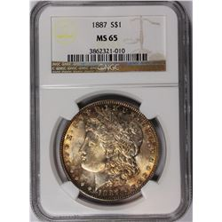 1887 MORGAN SILVER DOLLAR NGC MS-65 GEM RAINBOW COLORS