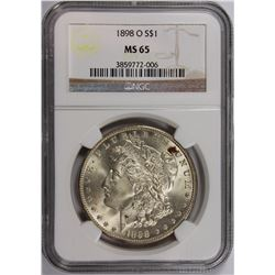 1898-O MORGAN SILVER DOLLAR NGC MS 65 SNOW WHITE