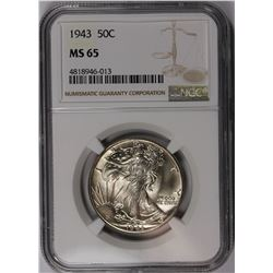 1943 WALKING LIBERTY HALF DOLLAR NGC MS-65 SNOW WHITE