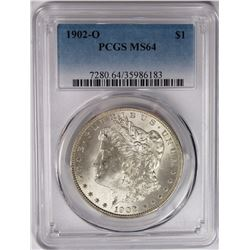 1902-O MORGAN SILVER DOLLAR PCGS MS 64 SNOW WHITE