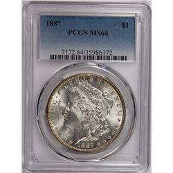 1887 MORGAN SILVER DOLLAR PCGS MS64 SNOW WHITE