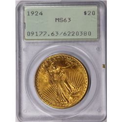 1924 $20 ST GAUDEN'S PCGS MS 63 OLD RATTLER HOLDER