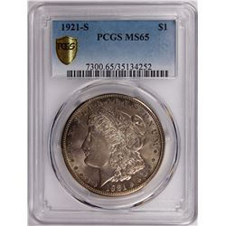 1921-S MORGAN DOLLAR PCGS MS 65 GEM