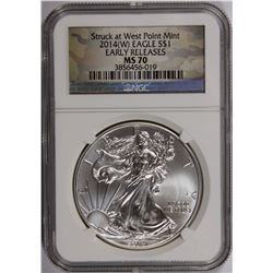2014-W AMERICAN SILVER EAGLE NGC MS 70 EARLY RELEASE