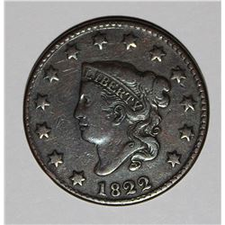 1822 LARGE CENT N-4, BEAUTIFUL VF, NICE COLOR!