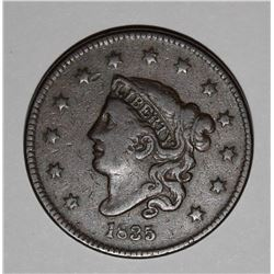 1835 LARGE CENT, VF+ BEAUTIFUL ORIGINAL