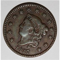 1827 LARGE CENT, SCARCE DATE, XF BEAUTIFUL COLOR