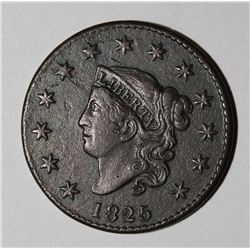 1825 LARGE CENT N-7, FULL BEAUTIFUL XF