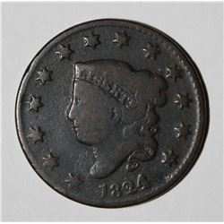 1824/2 LARGE CENT, VG & KEY COIN, GREAT COLOR