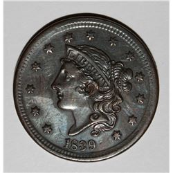 1839 LARGE CENT HEAD OF 1838 BEAUTIFUL AU/UNC
