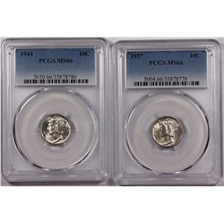 PCGS GRADED MERCURY DIMES MS66 : 1937 & 1944 WHITE