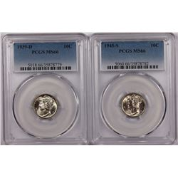 PCGS GRADED MERCURY DIMES MS 66: 1939-D & 1945-S
