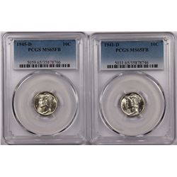 PCGS GRADED MERCURY DIMES MS65FB: 1945-D & 1941-D WHITE