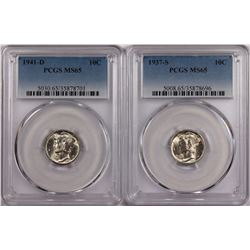 PCGS GRADED MERCURY DIMES: 1937-S MS 65 & 1941-D MS 65 WHITE