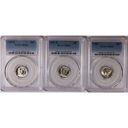 PCGS GRADED MERCURY DIMES: ALL MS 65 WHITE - 1945-D, 1936 & 1941-D