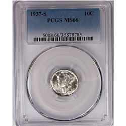 1937-S MERCURY DIME PCGS MS 66  WHITE SCARCE!
