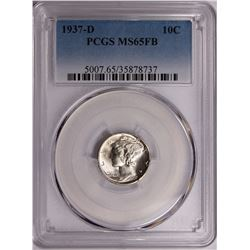 1937-D MERCURY DIME PCGS MS 65 FB WHITE. SCARCE!
