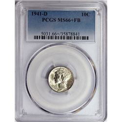 1941-D MERCURY DIME PCGS MS 66+ FB WHITE BLAZER!