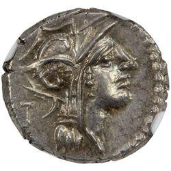 ROMAN REPUBLIC: D. Silanus L.f. 91 BC, AR denarius (4.00g), Rome Mint. NGC AU