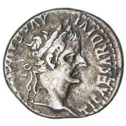 ROMAN EMPIRE: Tiberius, 14-37 AD, AR denarius (3.73g), Lugdunum (after AD 16). F-VF