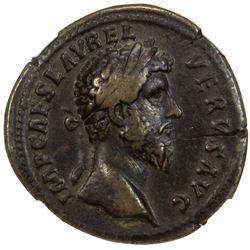 ROMAN EMPIRE: Lucius Verus, 161-169 AD, AE sestertius (23.28g), Rome (161). NGC VF